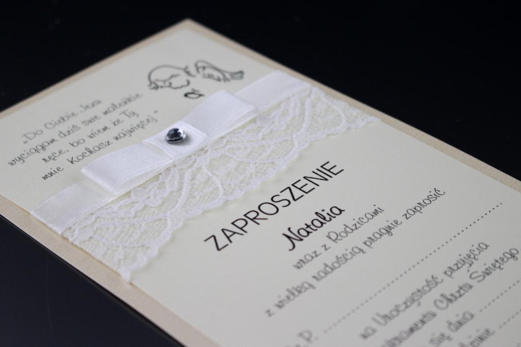 Zaproszenia na chrzest z koronką, papier kremowy