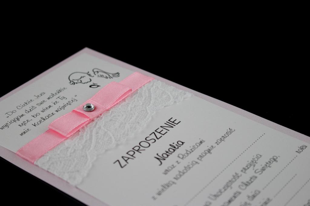 Zaproszenia na chrzest z koronką, papier różowy